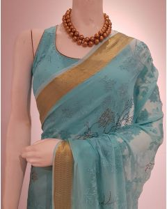 Turquoise Chiffon Saree with Golden Border having self Coloured Thread Embroidery with Stitched Blouse