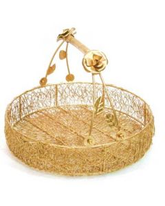 Handcrafted Golden Finish Iron Flower Hamper Basket