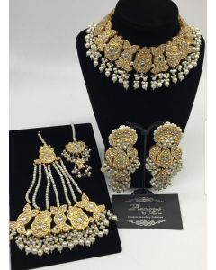 Wedding Kundan Necklace Set with Pearls