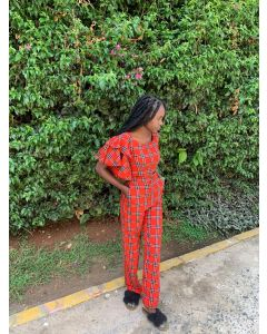 Checked red Trouser & Crop Top