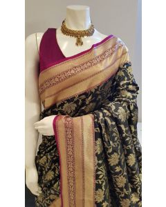 Black and Wine  Banarasi Silk  Saree in All over Floral Jaal and Zari Border, Pallu and Matching Blouse