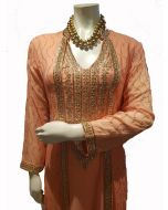 Peach Georgette  Long Party Gown  with Gold Kundan Work in Extra Large Size