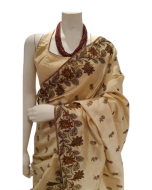 Beige Color  Silk Saree with Multicolor Silk Thread Embroidery and matching Blouse