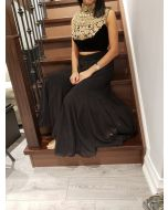 Indo Western Hand Embroidered Black Velvet Crop Top with Georgette Plazzo