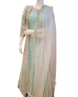 Bridal  Pastel Turquoise Colour Silk Gown with Net Jacket