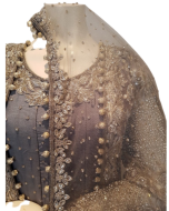 Bridal  Grey Colour Silk Gown with Net Jacket