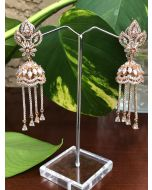 Beautiful Jhumkis Studded with Drop Shaped, Baguette, and Marques American Diamonds