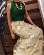 Indo western Green Crop Top with Net Thread Embroidered Skirt