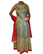 Dull Green Long Indian Gown with Round Neck wth Red border and Dupatta