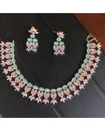 American Diamonds and Sea-Green Stones Necklace Set in Rose-Gold color