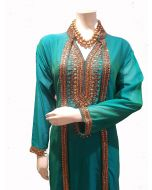 Sea Green Georgette  Long Party Gown  with Gold Kundan Work in Extra Large Size