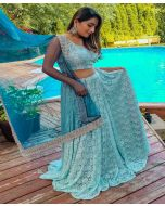 Powder Blue Chantilly Lace Lehenga Outfit