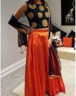 Faux Silk Plain Orange Skirt with Embroidered Crop Top and Free Shipping