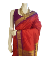 Hand woven Pure Silk Orissa Ikkat Saree in Red Color with Purple Border and Tissue Pallu