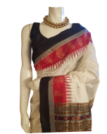 Hand woven Pure Silk Orissa Ikkat Saree in White Color with Red and Black Border and Pallu