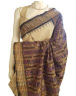 Hand woven Pure Silk Orissa Ikkat Saree in Natural Tussar Color with Navy Blue Border and Pallu