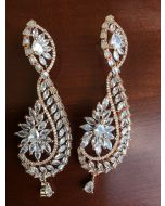 Beautifullly Designed Earrings with American Diamonds in Drop Shape, Baguette and Marques