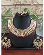 Bridal Kundan Necklace with red Beads