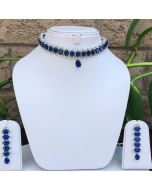 Emerald Shaped Blue Sapphire Stones Necklace