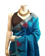 Hand woven Pure Raw Silk Orissa Ikkat Saree in Turquoise Color with Border and Pallu