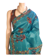 Hand Painted Patachitra Orissa Pure Silk Turquoise Saree with Stitched Blouse