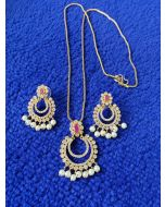 Indian Jewellery Uncut Diamond Pendant set with Red/Ruby stones