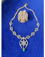 Indian Jewellery American Diamond/ CZ necklace set with Green stones